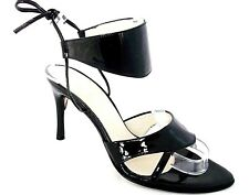 CONCHA SERRANO LADIES BLACK PATENT LEATHER ANKLE TIE HEELS CASUAL SANDALS UK 4
