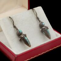 Antique Vintage Art Deco Retro 925 Sterling Silver Abalone Shell Dangle Earrings
