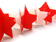 Paper STAR Party Decoration Garland Bunting- Red & White - 3Metres - FREE P&P