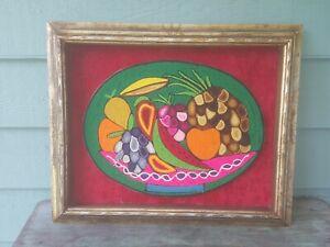 Vintage colorful Woven Fruits Framed Wool Fiber Wall Art Mid Century Folk Art