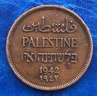 Israel Palestine British Mandate 1 Mil 1942 Bronze Coin