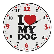 "Best of Breed 30cm Wooden Wall Clock - ""I Love My Dog"""