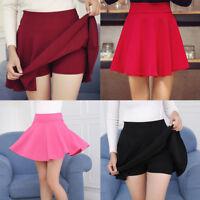 Girls Stretch High Waist Plain Skater Flared Pleated Short Skirt Mini Dress New
