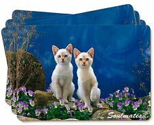 White Cats 'Soulmates' Sentiment Picture Placemats in Gift Box, SOUL-12P