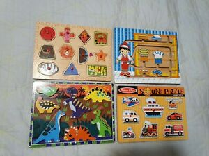 4 x Kids Wooden Board Games, Chunky Puzzles Kiddie Connect, Melissa & Doug