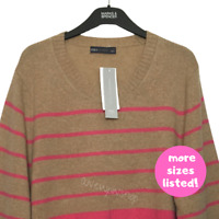 M&S Ladies Jumper Camel Pink Mix Stripes Round Neck Lambswool Rich BNWT Marks