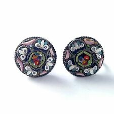 Signed ITALY Antique Art Deco Micro Mosaic Screw Back Earrings Glass Flower BN73