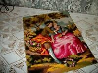 FRENCH NEEDLEPOINT TAPESTRY ROMANTIC COUPLE MADE FRANCE  PILLOW TOP VINTAGE