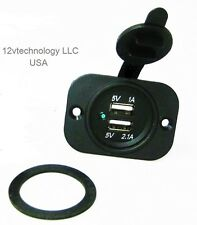 12V DC 3.1A Waterproof Dual Car USB Charger Socket Outlet Plug Marine- USA ship