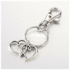 Two Hearts Alloy Key Chain Key Ring Key Fob with Iron Key Rings, Antique Silver