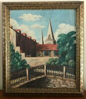 Vintage Oil Painting Town - Church - Bridge  Signed Oil Painting 1956