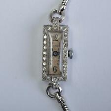 ART DÉCO MONTRE BRACELET pour femmes, platine avec diamants, Waltham USA,