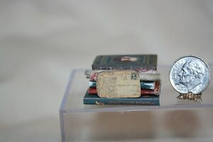 Miniature Dollhouse Stack of Old Antique Books Rolled Documents & Post Card NR