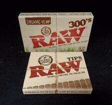 "Raw 300's Organic Hemp Rolling Papers 1.25""/ 300 Papers +Tips **Free Shipping**"
