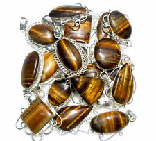 30PCS Wholesale Lot bRON TIGER EYE Gemstone 925 Silver Plated Pendant Jewelry