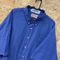 Vintage RED KAP Workwear Work Short Sleeve Shirt Blue USA Size 195 XXL 2XL