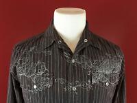 Machine Pearl Snap Black Striped Long Sleeve  Western Shirt Mens Small