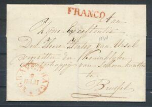 COMBINATIE FRANCO+ 'S GRAVENHAGE(ROOD RONDST.)OP OMSLAG BRUSSEL(POTL.1830)ZL807L