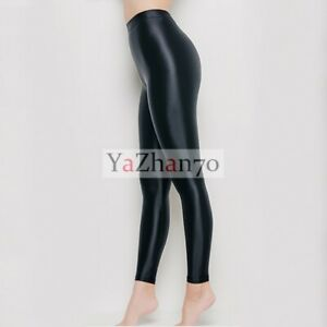LEOHEX Women's Shiny Wetlook Opaque Yoga Leggings High Gloss Spandex Strumpfhose