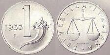 1 LIRA 1955 CORNUCOPIA REPUBBLICA ITALIANA ITALY #2012A