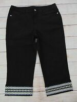 Denim & Co. Twill Embroidered Cuff 5-Pocket Capri Pants Black 14 $46 QVC Stretch