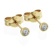 3mm Diamant Ohrstecker Gelbgold 333 585 Solitär Brillant 0,08-0,16CT Zertifikat