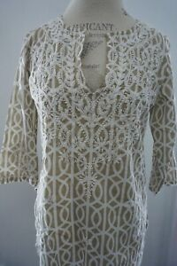 Gretchen Scott Beige & White Embroidered Floral Tunic Blouse Casual Career NWT S