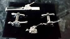 105 Mm Light Gun Silver Coloured Cufflink Tie Slide LAPELPIN Set Artillery RA