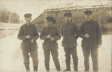 ✚853✚ German Field Postcard Feldpost WW1 FORT SOLDIER WINTER UNIFORM CAP OFFICER