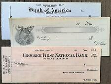 6 Vintage Original CALIFORNIA CHECKS 1900s-1930s Old Stamped Bank Paper NOS