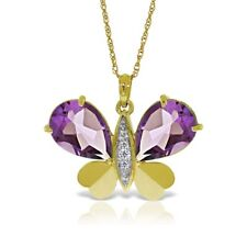 Genuine Amethyst Gemstones & Diamonds Butterfly Necklace In 14K Solid Gold