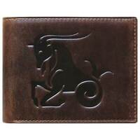 Bi-Fold Brown Genuine Leather Wallet ID Credit Card Holder Zodiac CAPRICORN