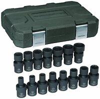 "GearWrench 15 Piece 3/8""dr 6 Point Metric 8-22mm Impact UJ Socket Set GW84918"