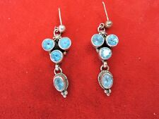 VINTAGE STERLING & BLUE TOPAZ DANGLING PIERCED EARRINGS***BEAUTIFUL!