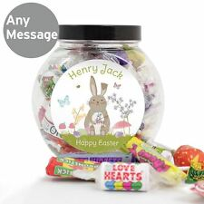 Easter Meadow Personalised Bunny Jar of Sweets Swizzles Easter Gift