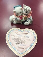 """1997 Enesco Calico Kittens """"Cold Nose, Warm Heart� Cat Figurine 295442 With Cert"""