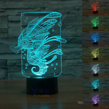 Free Ship 3D Led Night Lamp Novelty Sea Horse Visual Night Light Xmas Toy Gift