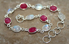 Faceted Ruby Rainbow Moonstone Delicate 925 Sterling Silver Bracelet