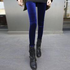 Women Lady High Waist Shiny Velvet Velour Leggings Plush Cosy Slim Pants Fashion