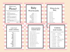 Print Yourself Pink Stripes Baby Girl Baby Shower Games TLC03