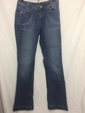 Womens 6 Cato Dark Wash Boot Cut Distressed layered Pockets Denim Blue Jeans