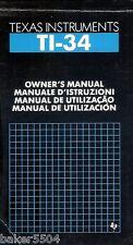 Genuino TEXAS INSTRUMENTS TI-34 Calculadora Instrucciones Manual del usuario ~ Libre P&P