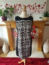 WALLIS - Beige, Black & White Patterned Fitted / Pencil Dress - Size 16 ~ VGC