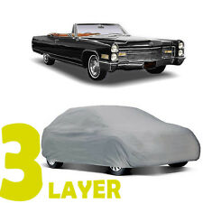 TRUE 3 LAYER GRAY FITTED CAR COVER OUTDOOR WATER RESISTANT for CADILLAC ELDORADO