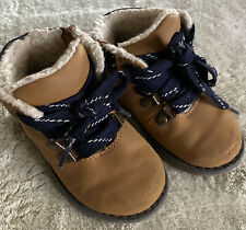Cat & Jack Boys Brown Boots Navy Blue Laced Fleece Lined Zip Side Toddler Size 6