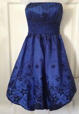 Boohoo Womens Party Dress Blue Puff style Fit and Flare Black Velvet Floral