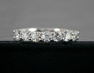 $4,500 G 14K White Gold Round Cut 0.85ct Diamond Wedding Band Anniversary Ring 5