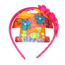 Official Licensed TROLLS Poppy Alice Head Band & 2 Flower Hair Snap Clips
