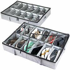 Under Bed Shoe Storage Organizer, Adjustable Dividers - Set of 2, Fits 24 Grey
