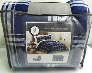 Plush Plaid Comforter & Sham Set Navy / White Full Queen 3 Piece Set